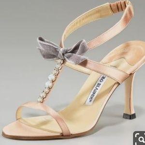 Manolo Blahnik Abrocado satin/jeweled sandals